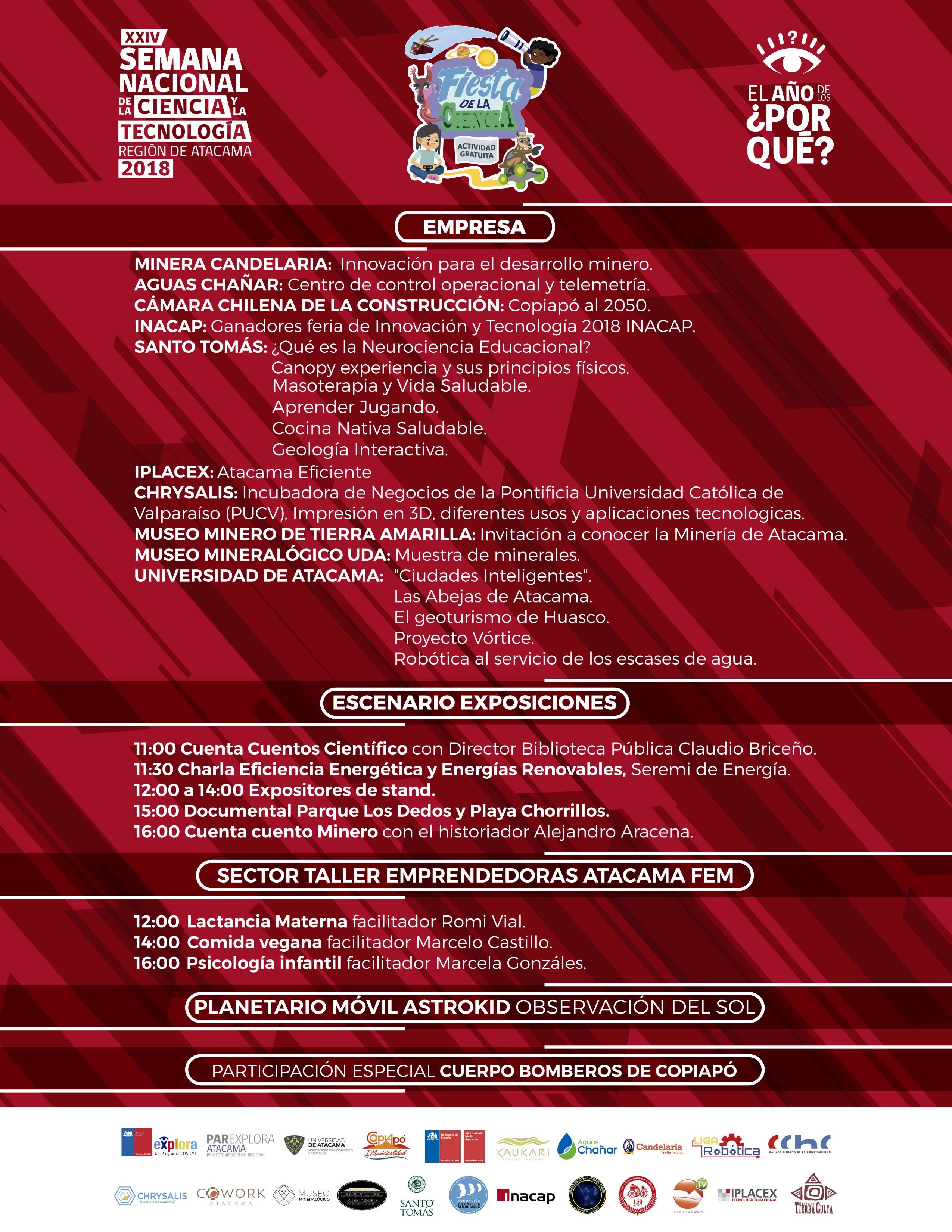 PROGRAMA FIESTA DE LA CIENCIA SÁBADO 13 DESDE LAS 11 HORAS